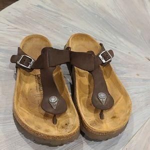 Birkenstock Betula brown leather gizeh sandals